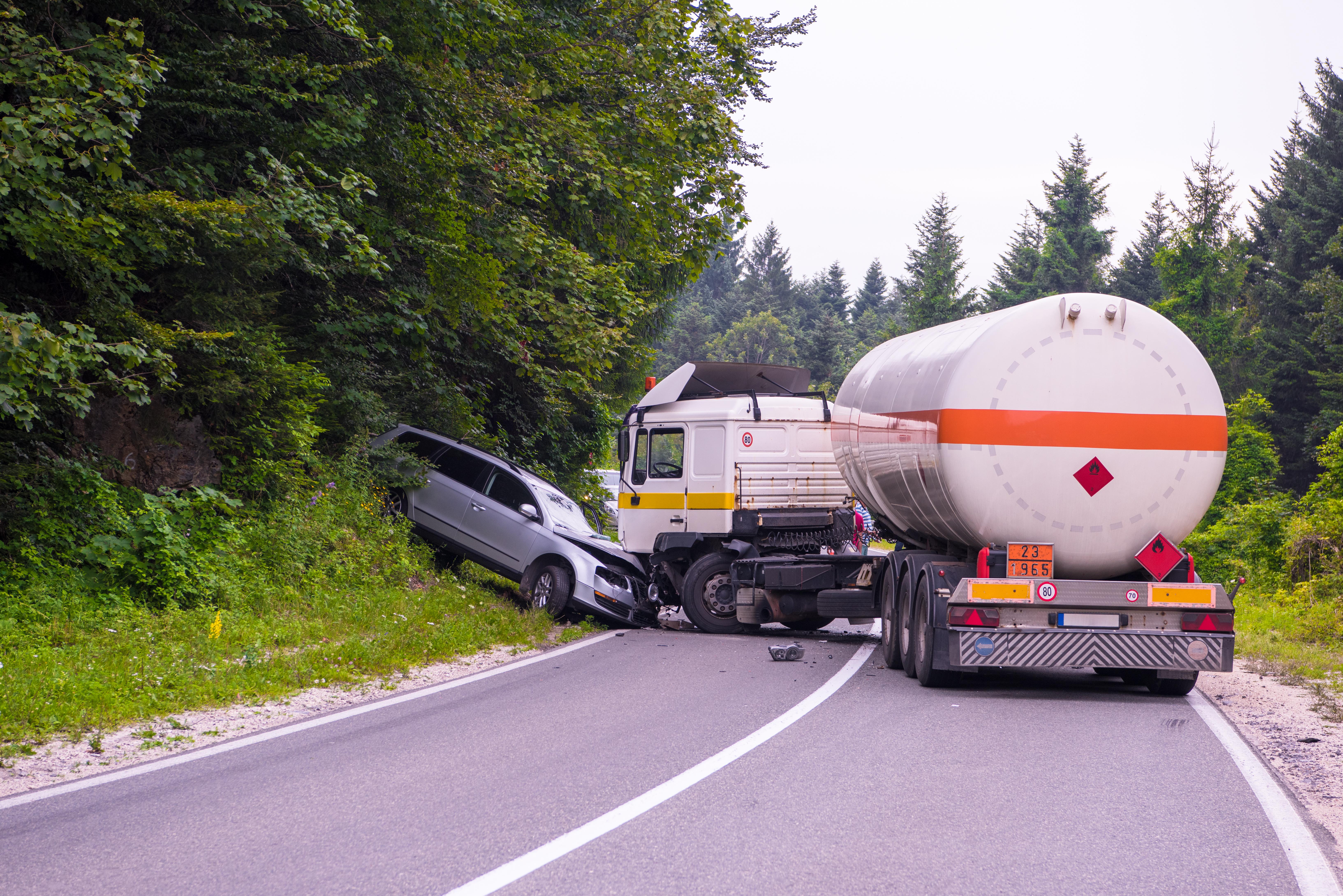 Traffic accident  Truck and Car crash ac