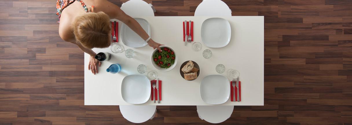 Top View of Wood Floor & Table