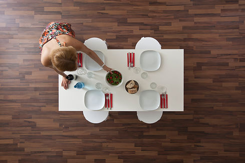 Ovanifrån av trä Golv & Table
