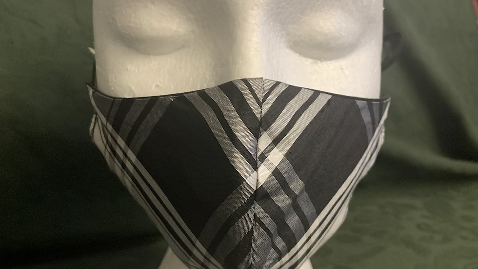 Black & White Silk Tartan face mask