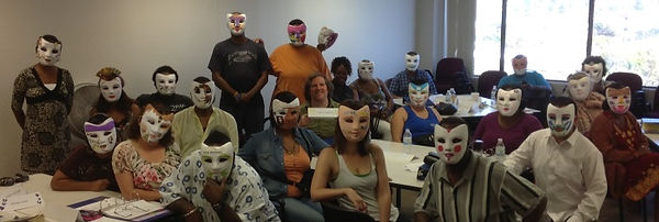 Students in the Peer Specialist Training participate in an annual mask making activity
