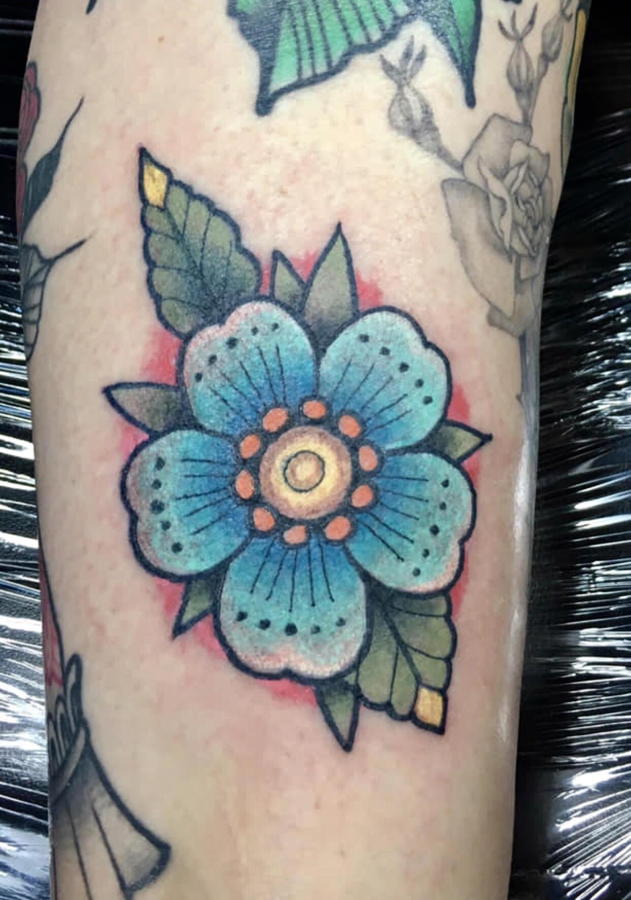 Traditional Flower Tattoo by Krystof