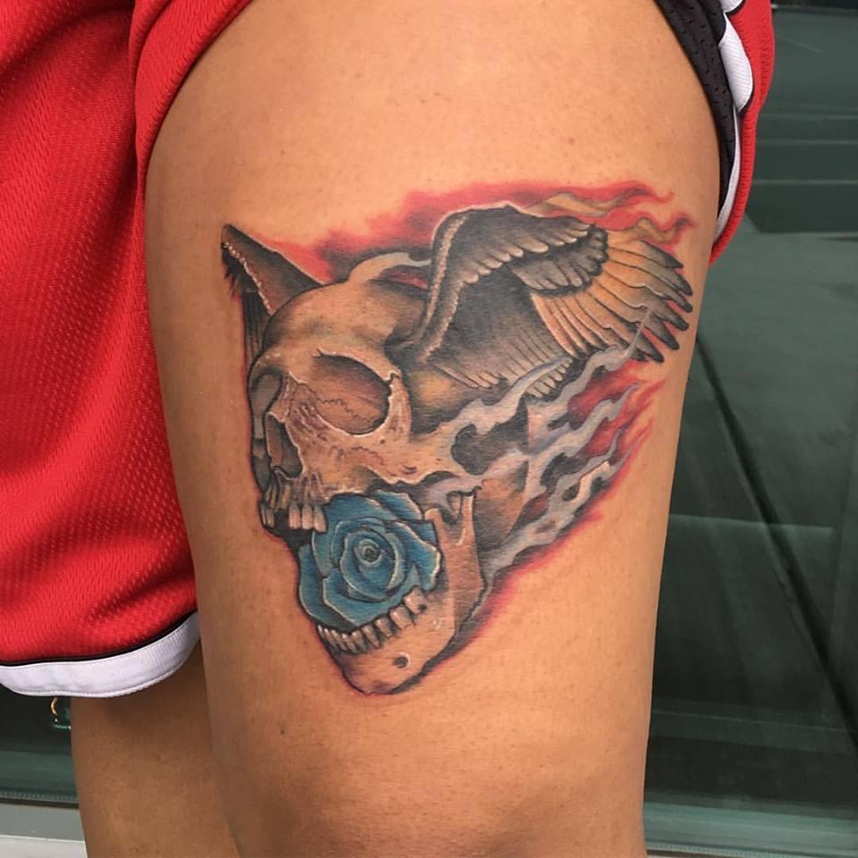 Skull Wings Rose Tattoo by Krystof