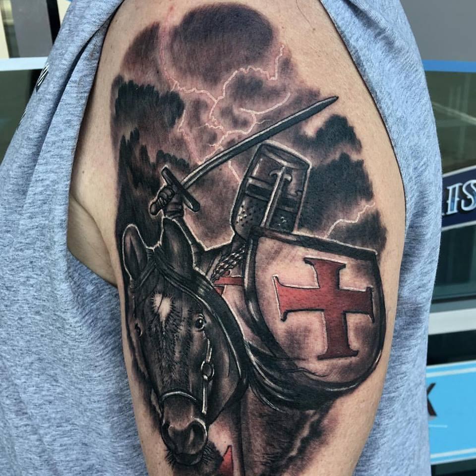 Templar Knight tattoo by Krystof