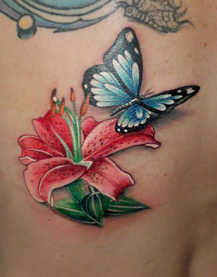 Lily and Butterfly Tattoo