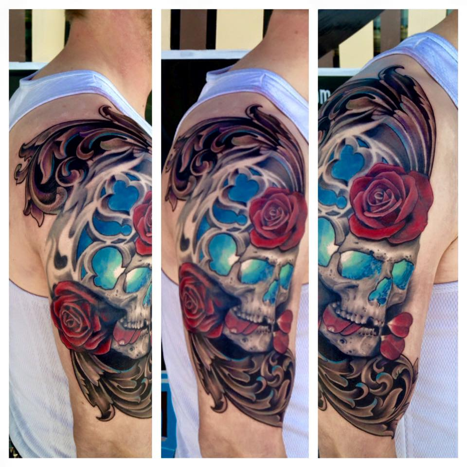 Skull and Filigree Tattoo