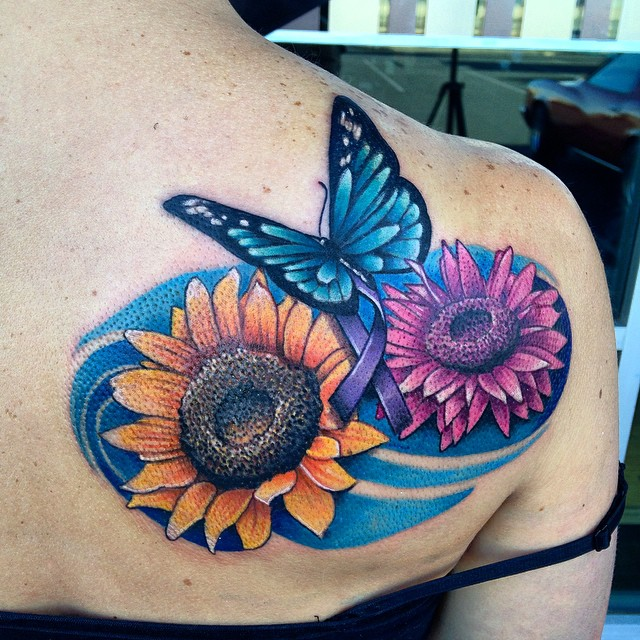 Butterfly and Flowers Tattoo