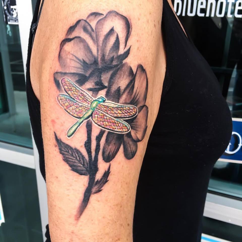 Dragonfly/Flower Tattoo by Krystof
