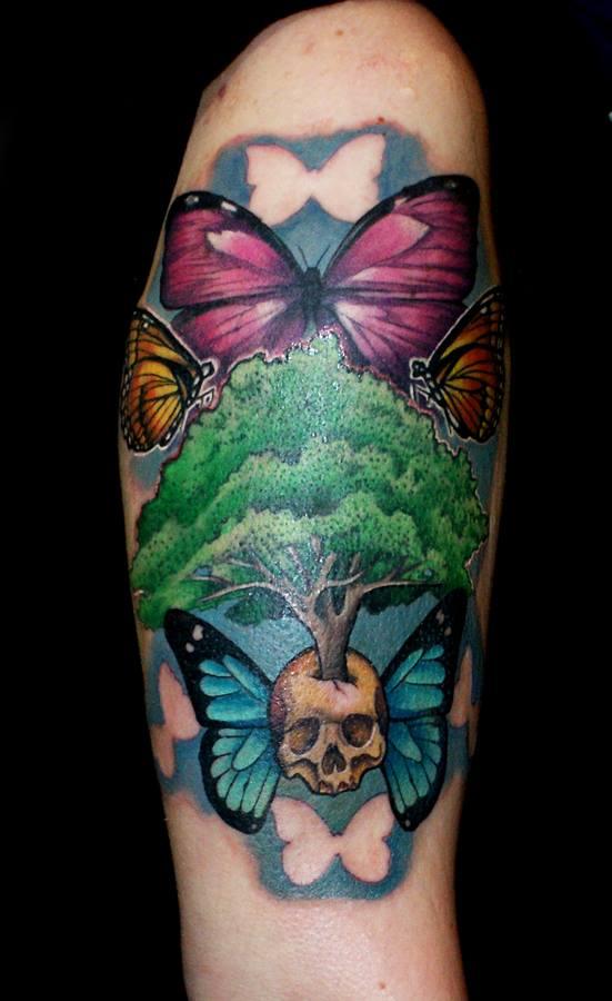 Skull Tree Butterflies Tattoo