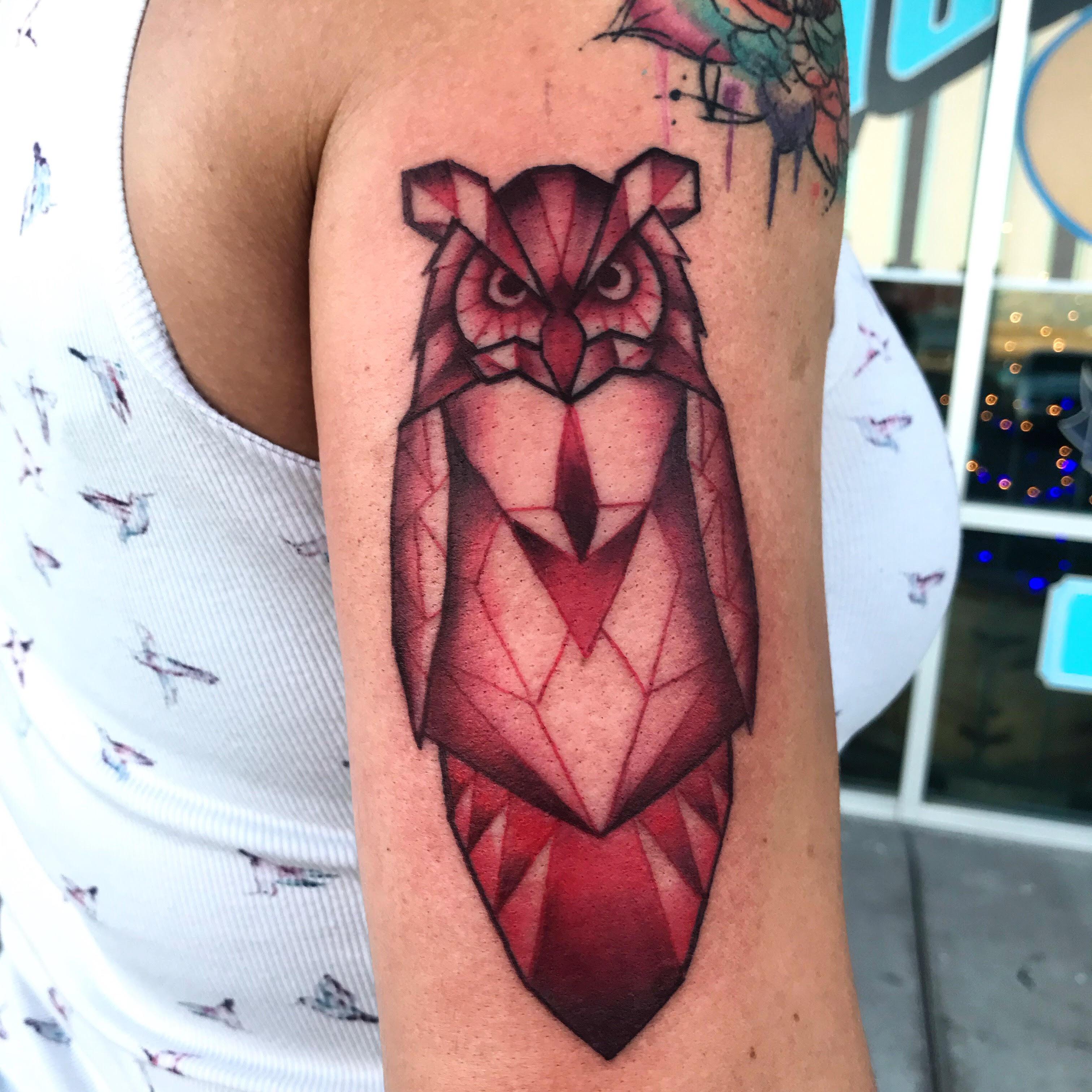Geometric Owl Tattoo by Krystof