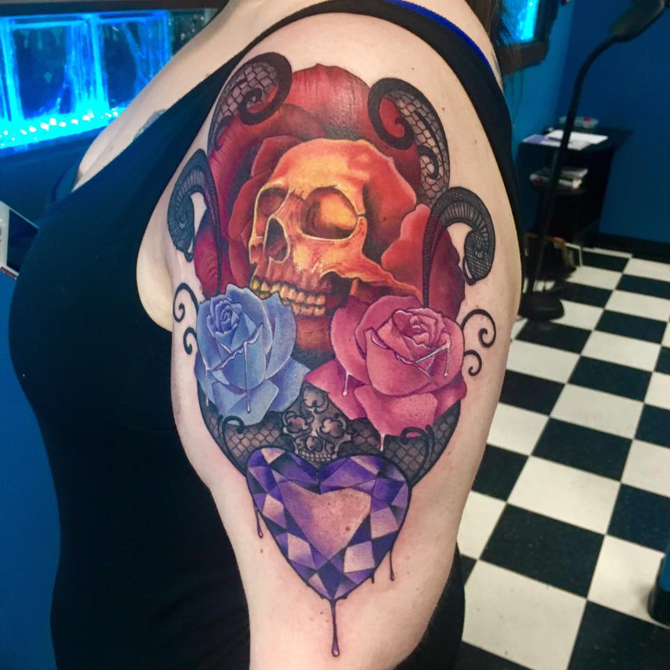 Skull, Roses, Lace and Heart Gem