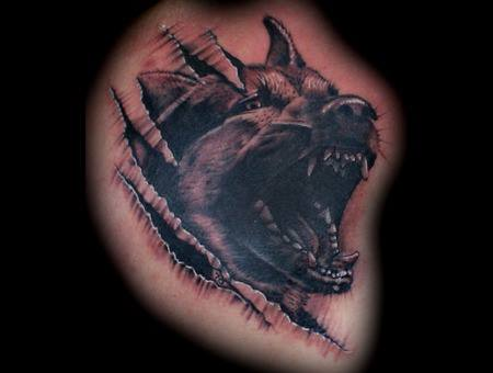 German Shepherd Skin Rip Tattoo