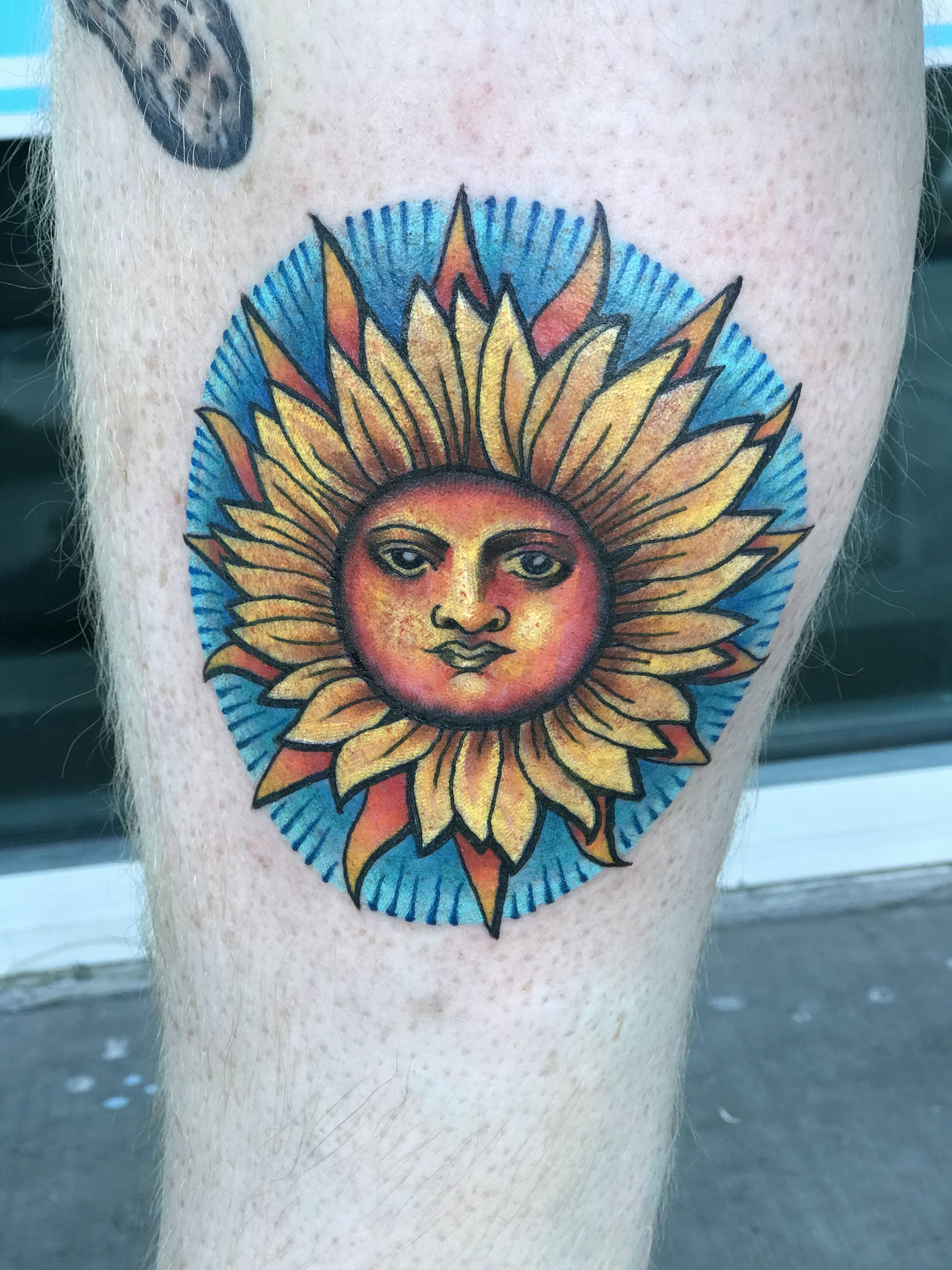 Sun and Sunflower Tattoo by Krystof