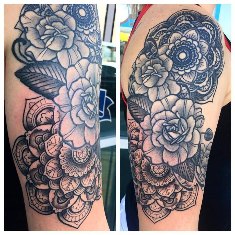 Roses and Mandala Tattoo by Krystof