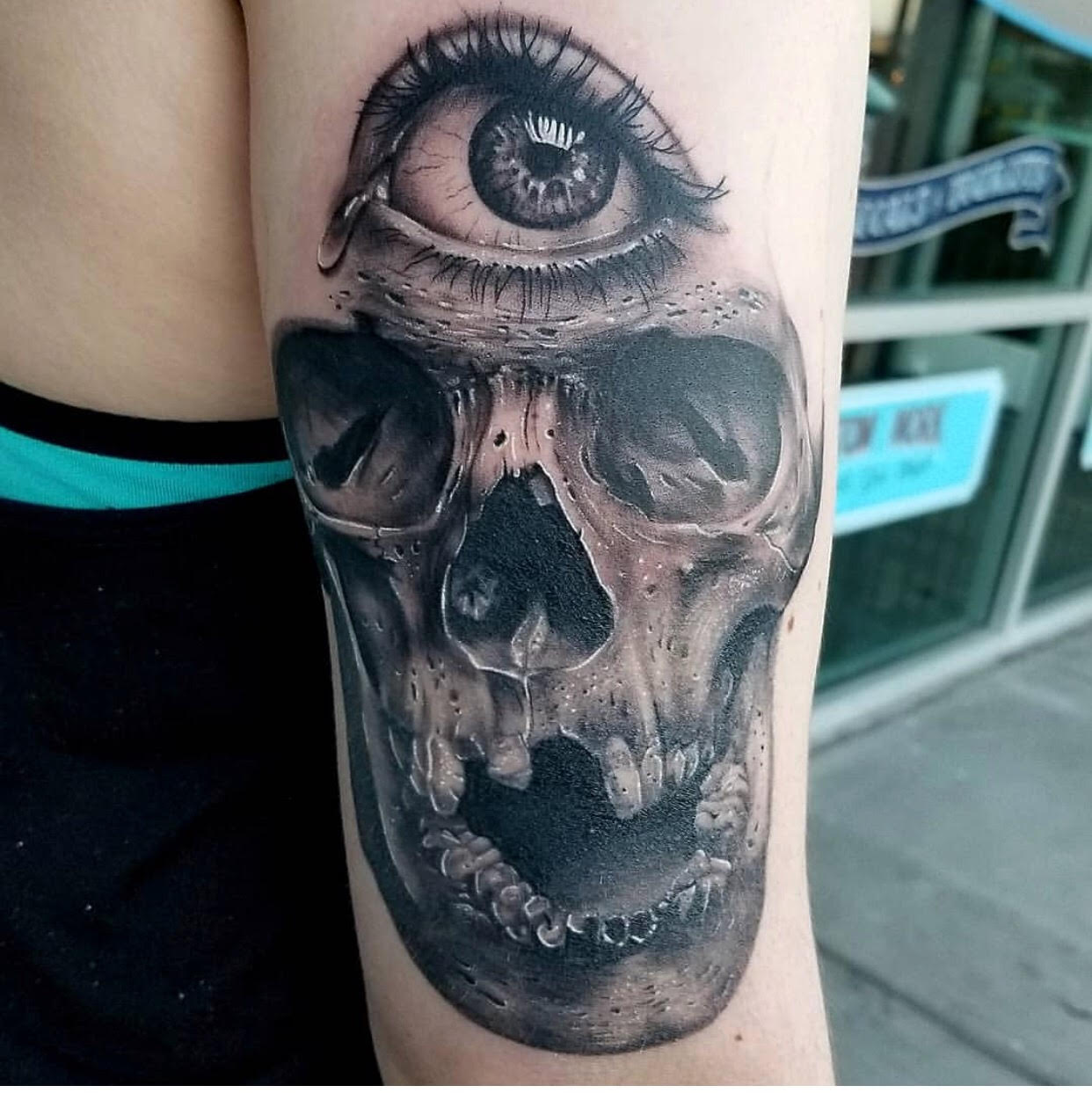 Skull and 3rd Eye Tattoo by Eric