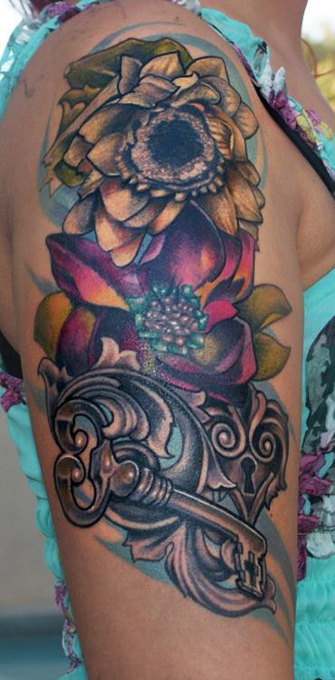 Floral Half Sleeve Key Tattoo