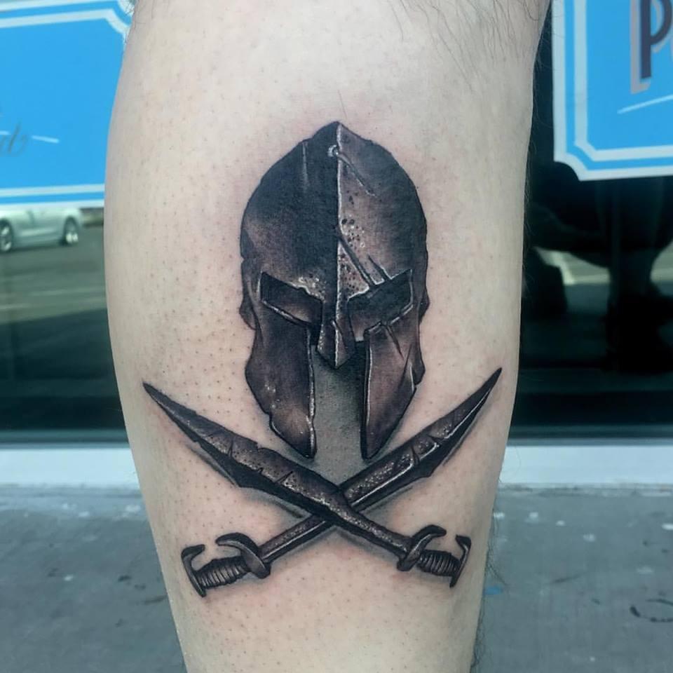 Spartan Helmet tattoo by Krystof