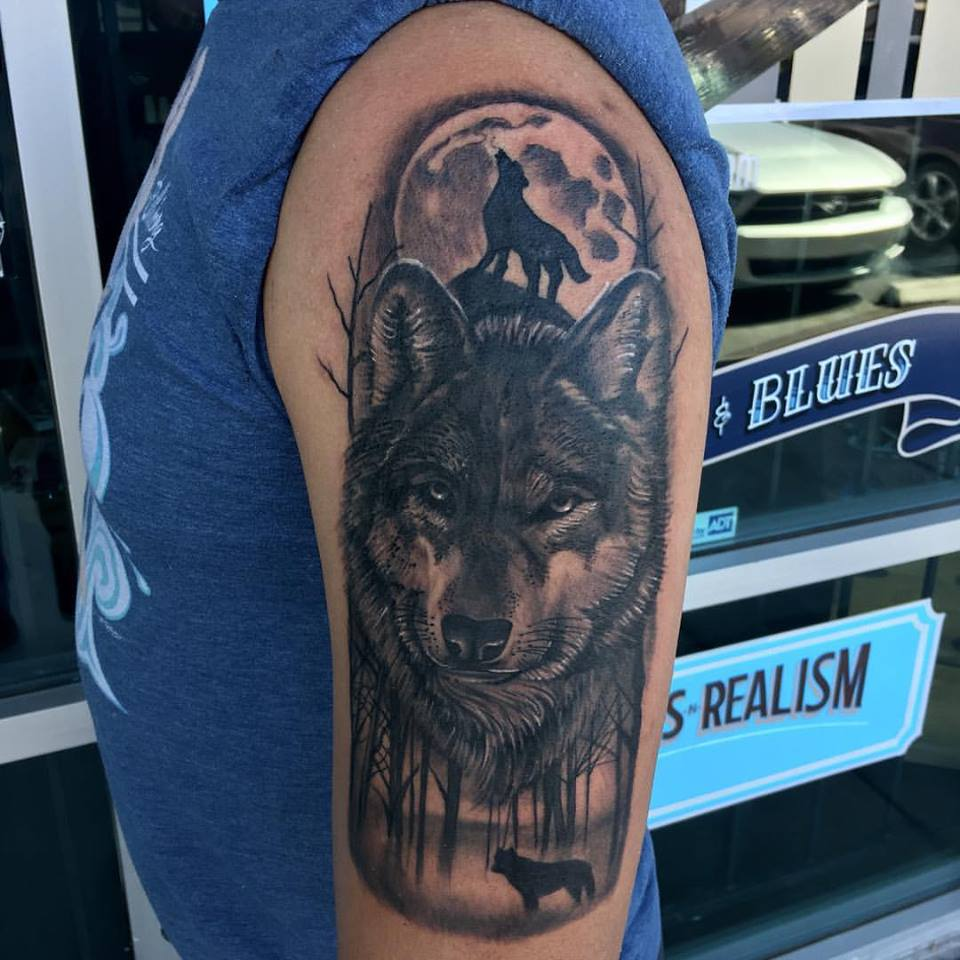 Wolf Forest Tattoo by Krystof
