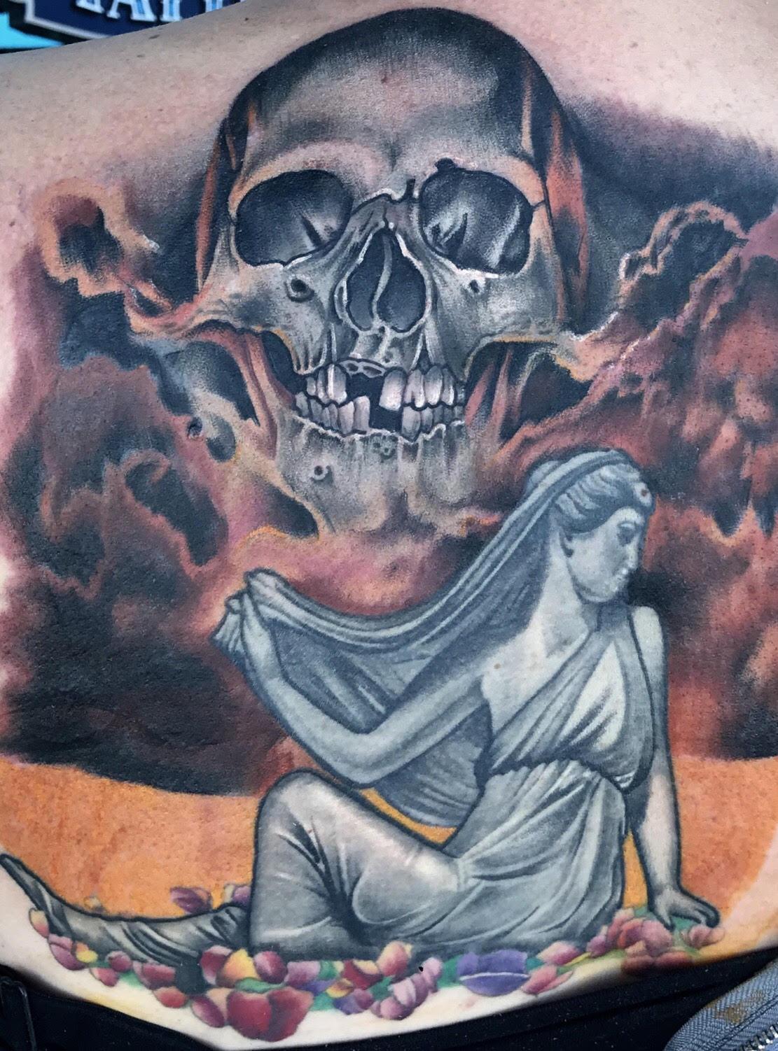 Skull Clouds tattoo by Krystof