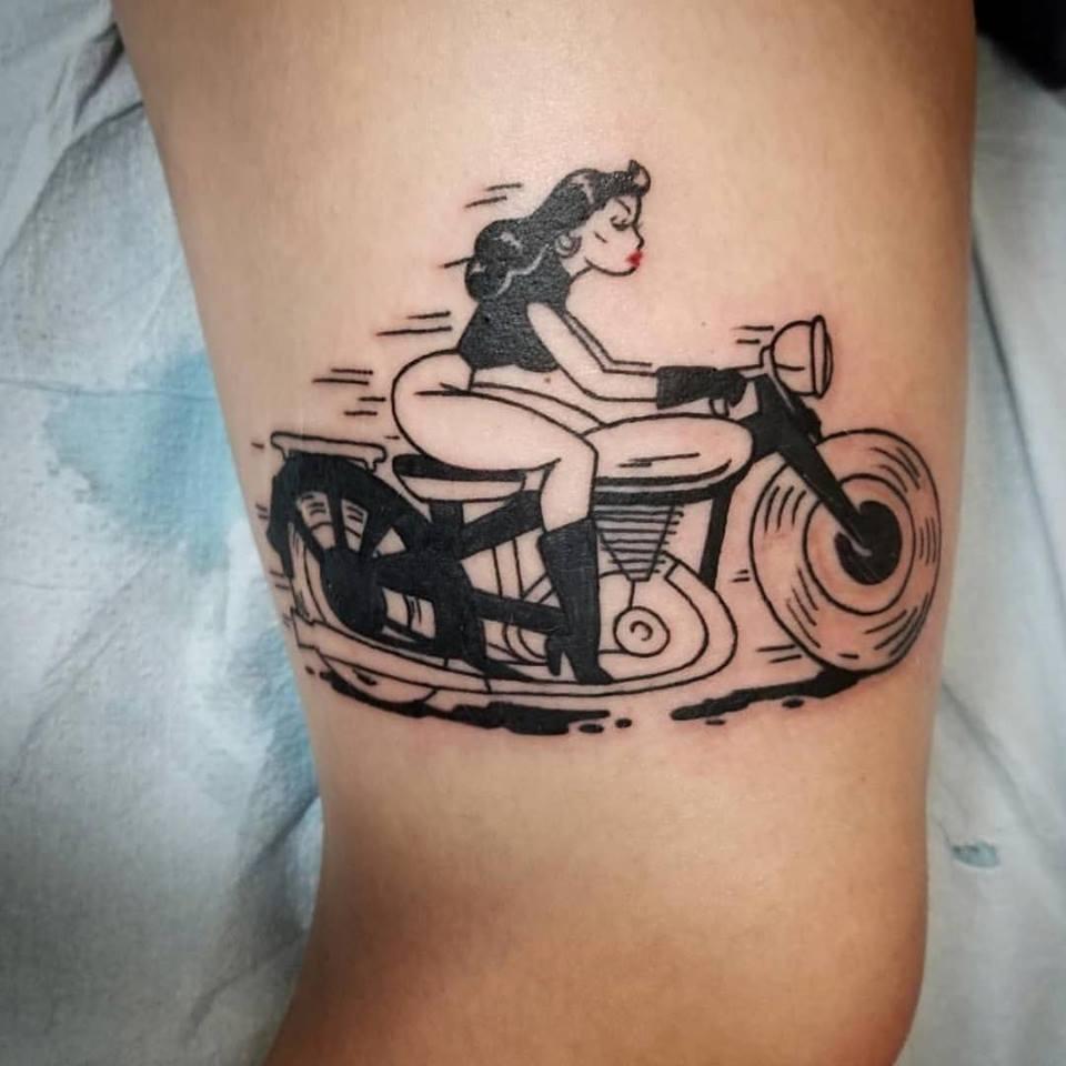 Femme Biker tattoo by Eric Chandler