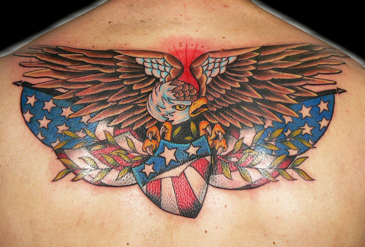 Traditional Eagle and Flag Tattoo