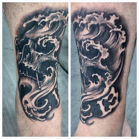 Water Skull Tattoo by Krystof