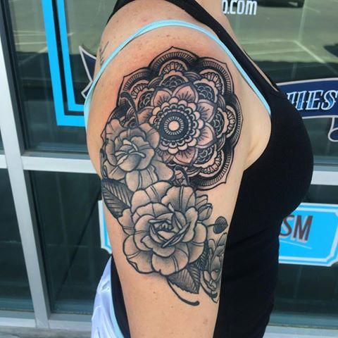 Mandala Roses Tattoo by Krystof
