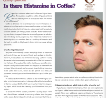 Java Beat: Is There Histamine in Coffee?