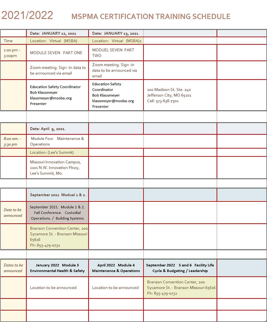 2021 MSPMA FMCC Training Schedule pic.pn