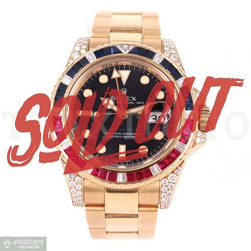 ロレックス ROLEX GMTマスターII 116758SARU 純正ダイヤモンド YG サファイア ルビー メンズ