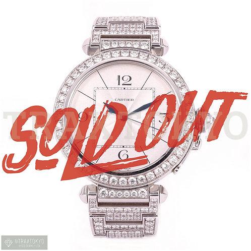 カルティエ Cartier パシャXL 純正フルダイヤモンド 42㎜ 18Kホワイトゴールド メンズ 自動巻 希少品