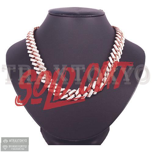 マイアミ キューバンリンク チェーン 14K ローズゴールド 15mm ダイヤモンド アクセサリー ネックレス メンズ