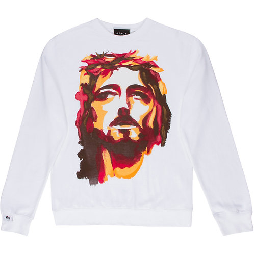 WHITE HAND-PAINTED SWEATSHIRT
