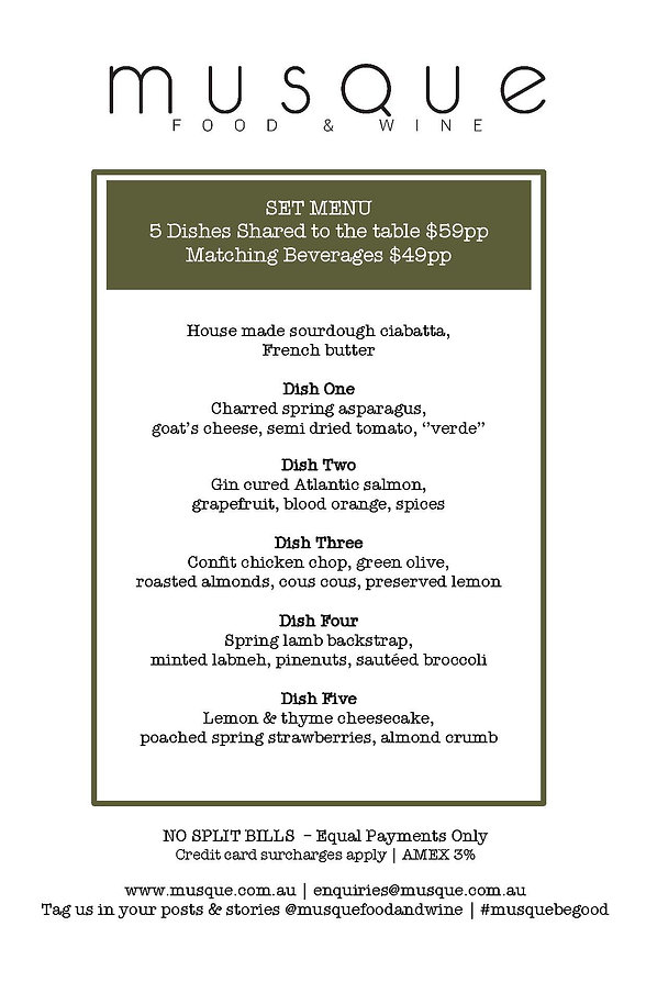 New Musque Dine In Menu 15th October 202