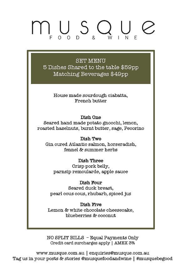 5 Dish Tasting Menu Thursday 3rd Decembe