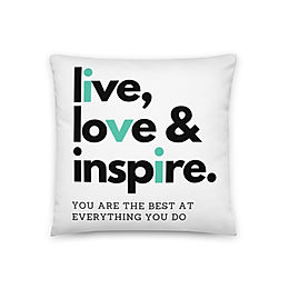 """Coussin """"Live, Love, Inspire"""""""