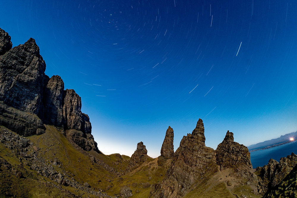 The Old Man of Storr, Skye, Scotland.  Night time photograph with star trails