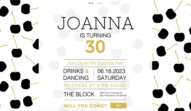 Eventer website templates – Invitasjon til surprise party