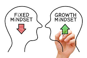 Hand drawing Fixed Mindset vs Growth Min