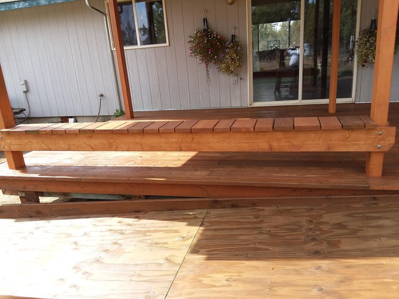 New deck, roof covering, and wheelchair ramp