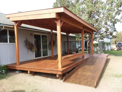 New deck , porch covering, and wheelchair ramp