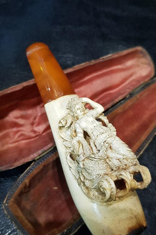 "Antique Rare 19thC. Meerschaum & Amber Cigarette Holder ""The Swan Princess"""