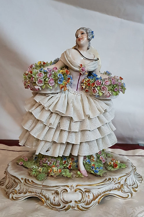 Vintage Luigi Fabris Lace Figurine Woman with Blooming Baskets