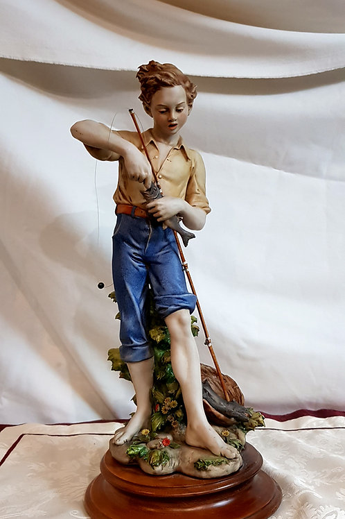 Antique Large Capodimonte Triade Benacchio Boy Fishing