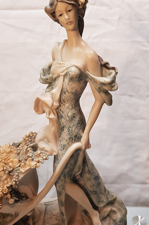 LARGE 1985 CAPODIMONTE GIUSEPPE ARMANI FLORENCE FIGURE LADY WITH FLOWER CART