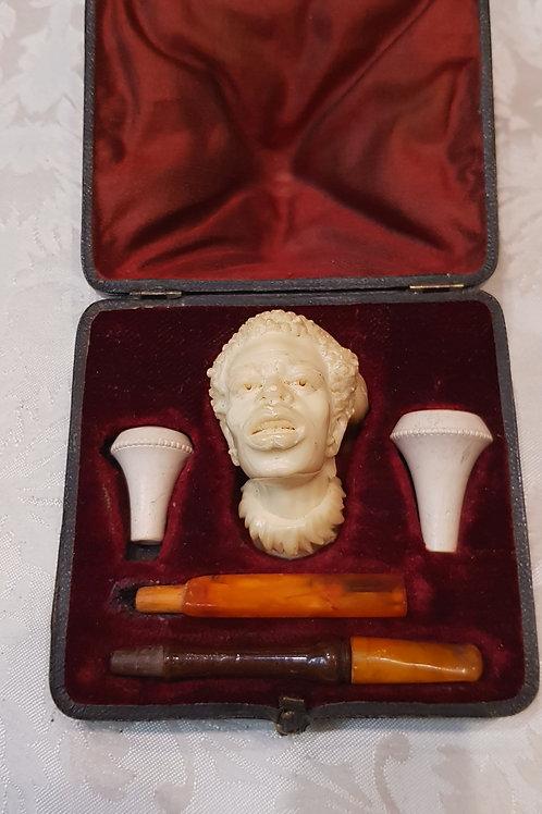 """Antique 19thC. Meerschaum & Amber Cigarette Holder """"African Bust"""""""
