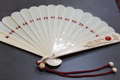 Antique Vintage 19th. century Ivory & Aka Coral Fan European Hand-Carved