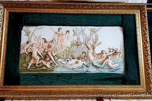 "Antike HR-Porzellantafel aus dem 19. Jahrhundert ""Hunt of Diana"" Signiert H. Makart"
