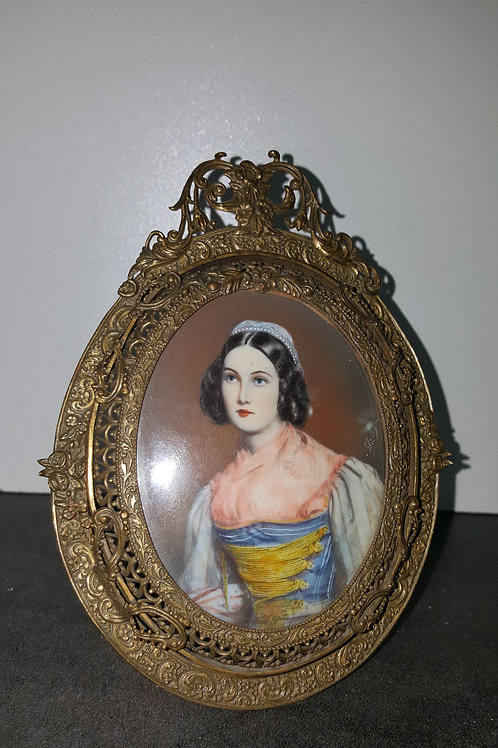 Victorian Plaque Hand-Painting 19thC Portrait Of A Beautiful Lady