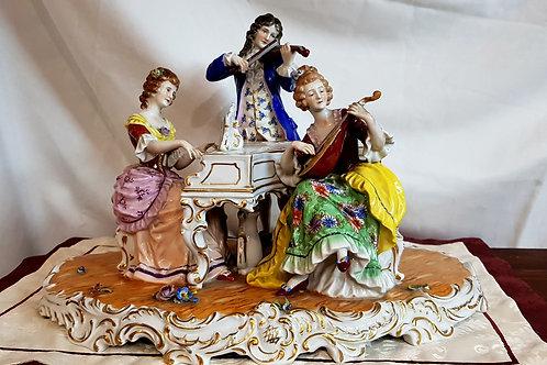 """Vintage Rare Muller Volkstedt Large Porcelain Figure """"The Concert"""""""